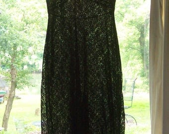 Vintage 50s Shadowline black lace slip size 32 small