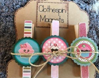 Fun Yummy Cupcake Clothespin Magnets