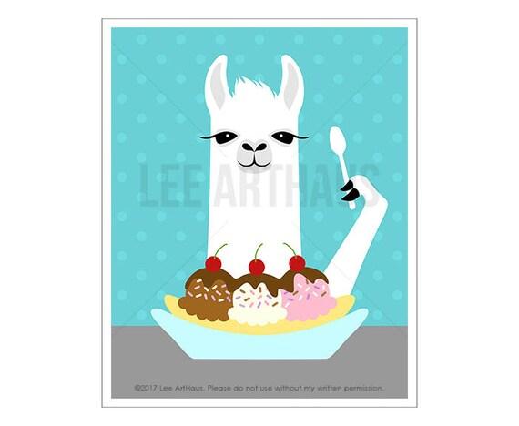 50J - Children Decor - White Llama Eating Banana Split Wall Art - Dessert Decor - Ice Cream Decor - Banana Split Print - Kids Wall Art