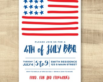Fourth of July Invitation, Fourth of July Invite, PRINTABLE 4th of July Invitation, 4th of July Invite, Independence Day Invitation