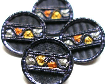 """4 Antique French Buttons, Victorian leaves on ribbon, imitation fabric design. 9/16"""". MINT."""