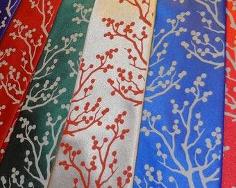 RokGear Winter Berries print - 3 Mens microfiber neckties - custom colors print to order