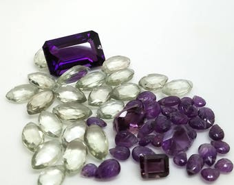 Genuine Green and Purple Amethyst Faceted Gemstone Briolette Destash Lot 33 grams total weight faceted drilled