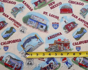 Route 66 American Dream Scenic Spots State Names BY YARDS Blank Cotton Fabric