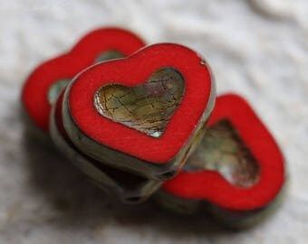 RED THUMPER .. 4 Premium Picasso Czech Heart Beads 14x12mm (5828-4)