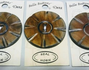 NEW Carved Horn Button 50mm 2 inch carded round button Belle Buttons by Dritz destash real genuine horn BB623