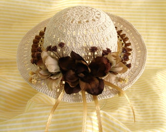 Doll Hat for American Girl Doll Hat Beige and Amber Doll Hat 18 Inch Doll Hat Doll Summer Accessory Am Girl Doll Hat AG Doll Tan Crochet Hat