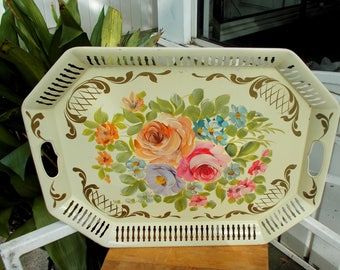 Hand Painted Reticulated Tole Shabby Chic Metal Serving  / Pink Purple Roses Blue & Pink Wild Flowers / French Country Garden Serving Tray