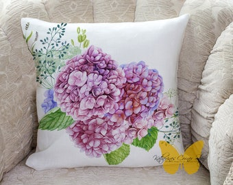 Hydrangea Pillow, Hydrangea Decor, Exclusive Design, Flower Pillow