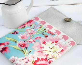"""15"""" MacBook Case, 15 inch MacBook Sleeve, 15 Laptop Case with pocket, nature Computer Bag, 15 Inch Computer Case, Hawaiian Flowers and Linen"""