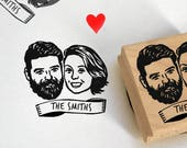 Custom portrait Wedding favors for guest Gift for couple personalized gift stamp / Save the date / rustic wedding thank you bachelorette