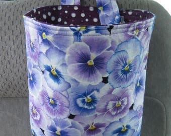 Trash Bin, Car Trash Bag, Cute Car Accessories, Headrest Bag, Trash Container, Pansies