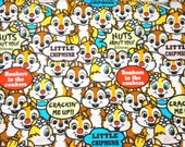 Disney licensed fabric Disney Cartoon Chip and Dale  Print Japanese fabric Cotton Linen half meter 19.6 by 42 inches