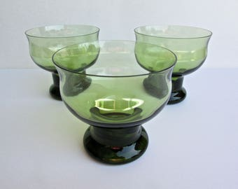 Lenox Clarion Green Tall Sherbert or Champagne Glasses, Footed Vintage Glasses, Classic American Mid Century Glass Company