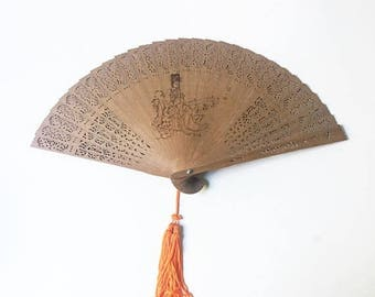 SALE Bamboo Fan Japanese Fan Personal Fan Carved fan Tassel Fan
