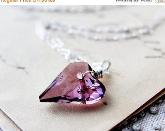 Crystal Heart Necklace, Valentine Necklace, Heart Pendant, Crystal Necklace, Crystal Jewelry, Swarovski Heart, Swarovski Crystal, PoleStar
