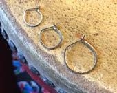 Simple Slender Continuous silver hoop- single hoop earring with hook closure 20 gauge