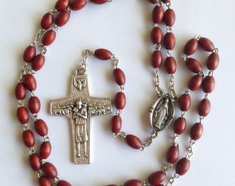 HANDMADE Wood Rosary with Pope Francis Papal Pectoral Cross