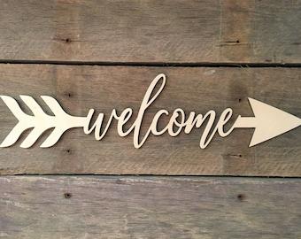 Welcome Arrow Word, Wall Decor, Wall Hanging, Inspirational, Teens Room, Childs Room, Classroom