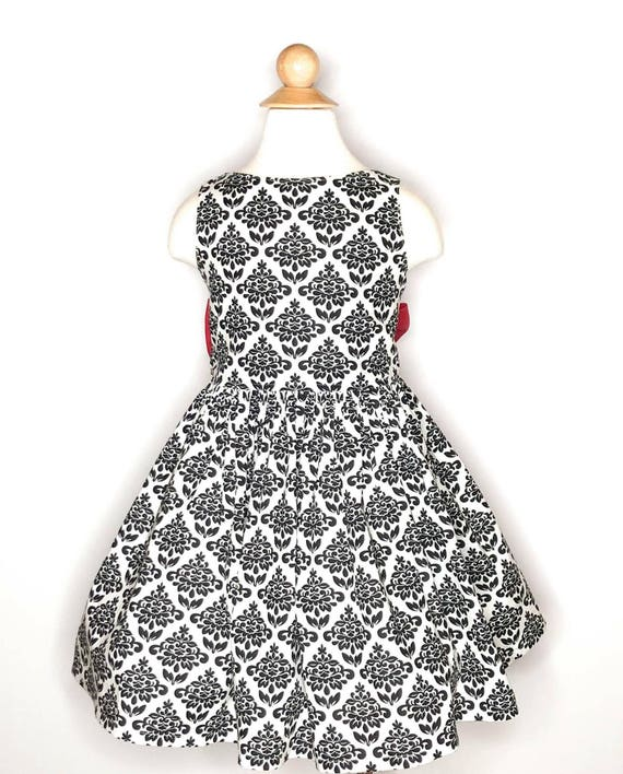 Girls Valentines Dress Black and White with Big Red Bow - Valentine Party Dess