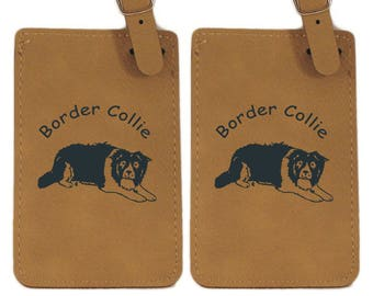Border Collie Laying Luggage Tag 2 Pack L1870