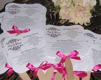 Wedding Fans, Fan for Wedding, Wedding Program, Die Cut Fan, Wavy Fan Handle, Fan with Monogram - Set of 80