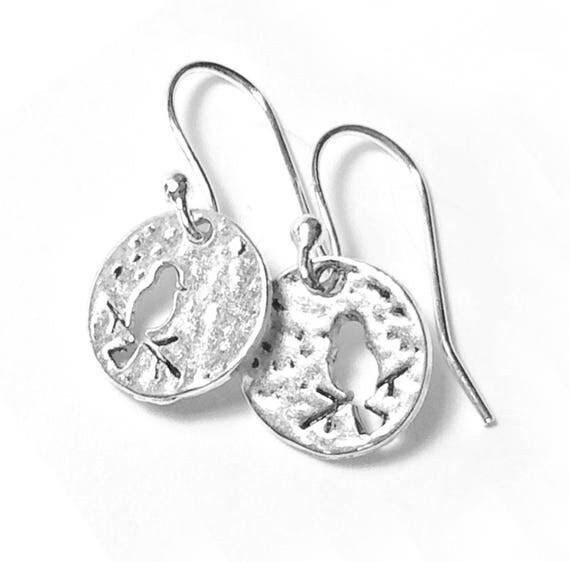 Silver Bird Earrings, Pierced Silver Bird Earrings, Handmade Bird Earrings, Dangle Bird Earrings, Silver Wire Bird on a Branch Earrings