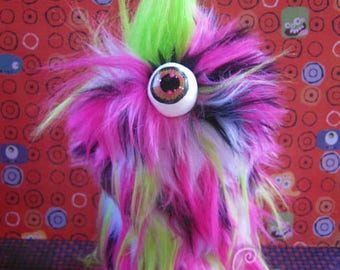 MONSTER!! Cyclops Monster Box Adorable Hairy Psychedelic Hairy Monster with Warts! Box to hide your stuff in plain sight! Furry and FUN!
