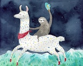 Sloth riding lama A3 print, sloth illustration, lama adventures print