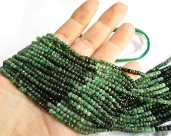 20% OFF SALE Natural Emerald ROndelle Beads, 3.5mm 4mm 3mm Beads Africa, Natural Green Gemstone