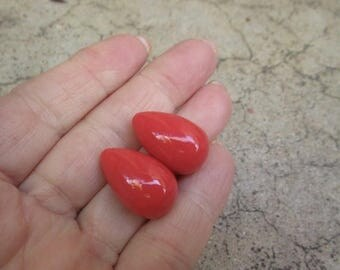 SALE Out Of TOWN Red Coral Beads Briolette Beads Matched Pair, Orange Red Gemstone Top Half Drilled Drill 14mm x 22mm