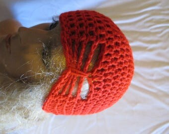 Vibrant Red Butterfly Stitch Accent Beanie/Turban