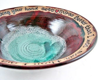 Ninth Anniversary gift, Pottery Anniversary Bowl, 9th Anniversary gift, Dark red / Teal - In stock