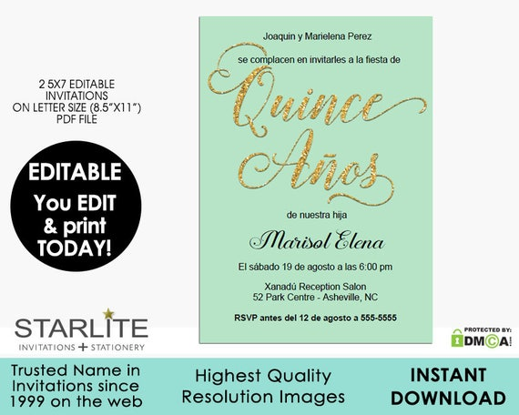 Quinceanera Invitation EDITABLE Mint Green Gold Glitter 15
