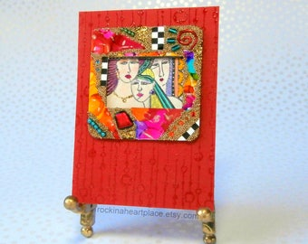 ACEO - original collage art card, sisters, girlfriends, women, Three Times A Lady in red