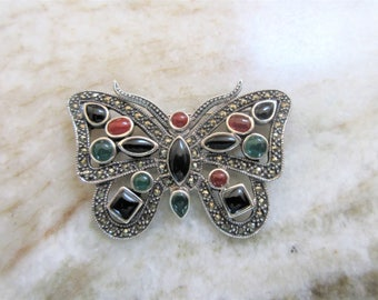 Gorgeous Lg BUTTERFLY PIN-Sterling-Marcasites-Onyx-Carnelian-Jade