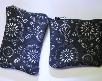 Pair of Black w/Silver Embossed Floral Pattern LEATHER Wallets
