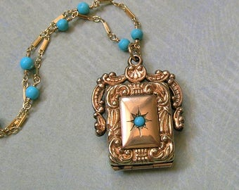 Antique Locket Fob Necklace With Turquoise Wire Wrapped With Blue Magnesite, Gold Filled Locket Necklace, New Mom Gift (N285)
