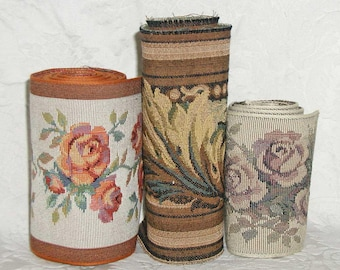 Tapestry Trims - Lot of 3 - Floral and Acanthus Leaf - Great for Totes, Pillows and More - Combined Totals Over 4 Yards