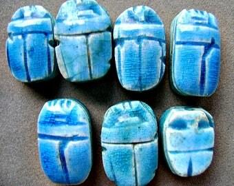 Scarab Beetle,  Egyptian, Glazed Turquoise Blue, Hieroglyphic Symbols, Ethnic, Mystical, Celestial