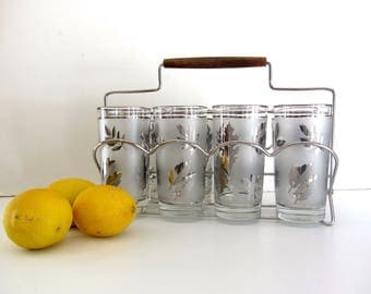 Vintage New In Box Libby Silver Frosted Cocktail Set Glasses with Carrier
