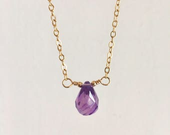 A Little Amethyst Drop Gold Necklace