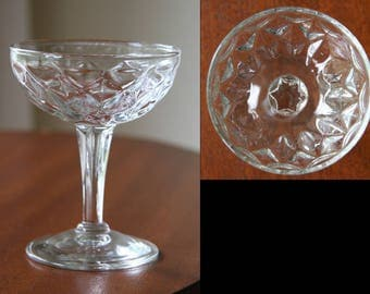 DIAMOND MARTINI: Vintage 4 oz Midcentury Cocktail / Champagne Coupe Glass, Ceremonial Wine Chalice, Sherbet Cup, Prescut & Crystal Clear