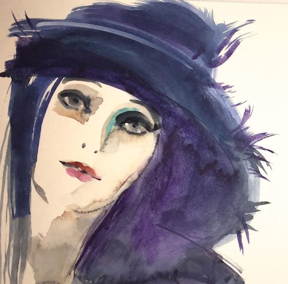 Midnight Blue Hat portrait- original watercolor portrait painting by Gretchen Kelly