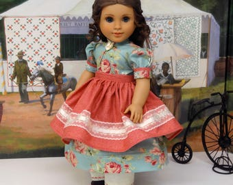 Prairie Garden - Civil War or Prairie dress for American Girl doll with apron, undergarments and boots