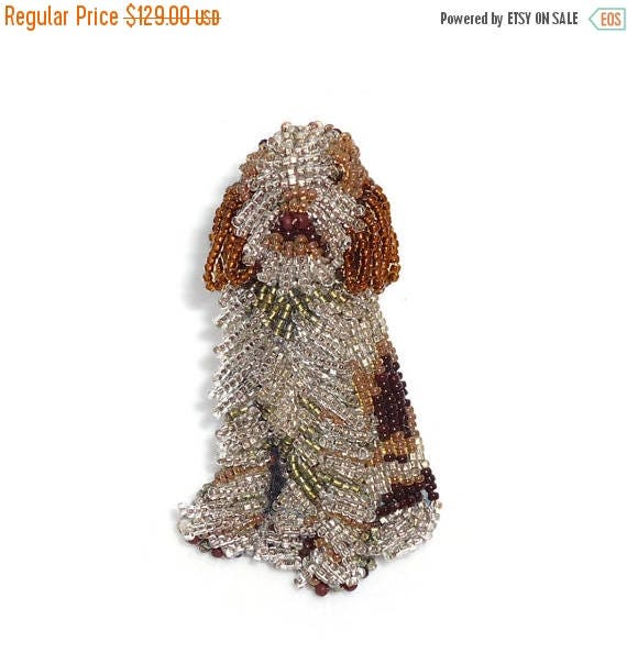 Beaded ITALIAN SPINONE keepsake dog pin pendant art jewelry (Made to Order)
