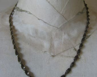Shabby Sterling Gold Twist Spiral Necklace Chain Silver Vintage 925 Vermeil