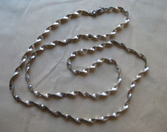 Shabby Sterling Twist Spiral Necklace Chain Silver Vintage 925