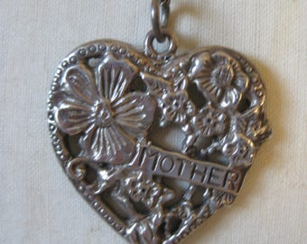 Mother Heart Flower Sterling Necklace Vintage Pendant 925 Silver