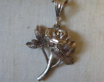 Rose Flower Sterling Necklace Vintage Pendant 925 Silver